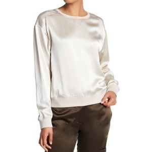 Theory Massar Satin Silk Pullover Sandy White Top